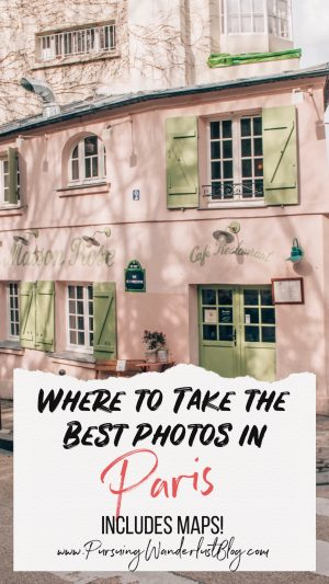 Pink cafe in Paris with green shutters