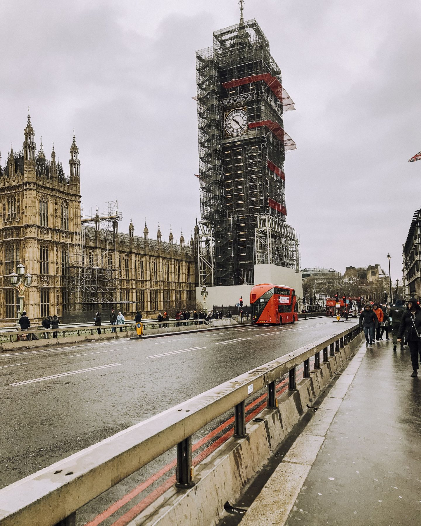 Big Ben in London covered in scaffolding